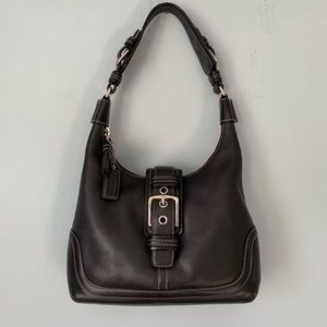 Coach Leather Black Hobo Handbag